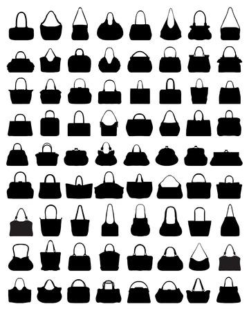 Black silhouettes of women's handbags illustration