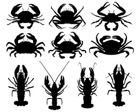 Black silhouettes of crabs Illustration