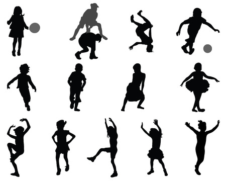 Silhouettes of children playing, vector Vector