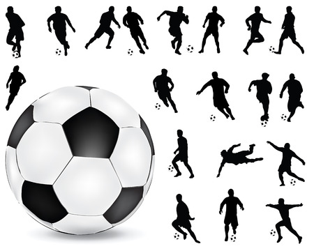 Black silhouettes  of football players 2, vector