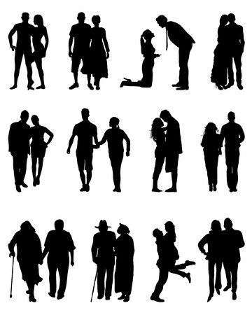 Black silhouettes of couples, vector Vettoriali