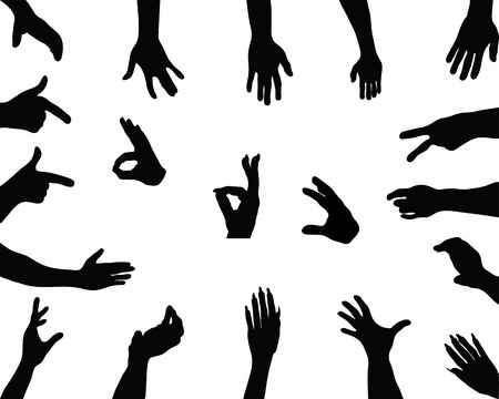 Black silhouettes of different hand positions, vector