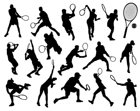 Black silhouettes  of tennis player 4, vector