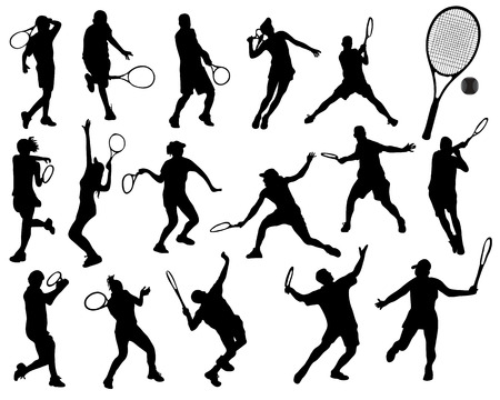 backhand: Black silhouettes  of tennis player 2, vector Illustration
