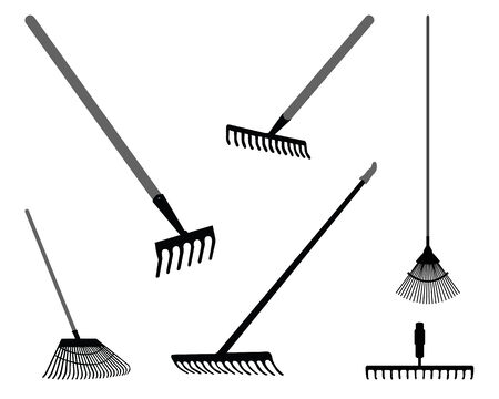 mow: Black silhouettes of rake on a white background 2, vector