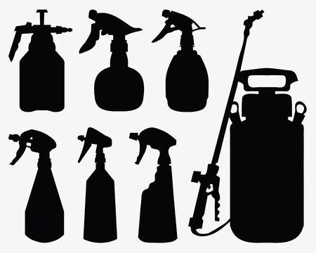 sprayer: Black silhouettes of sprayer on a white background 2, vector Illustration