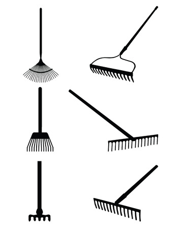 horticultural: Black silhouettes of rake on a white background, vector