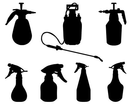 sprayer: Black silhouettes of sprayer on a white background, vector