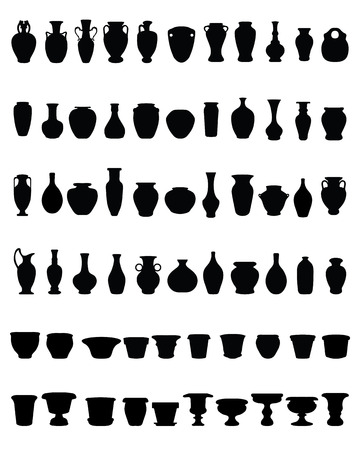Black silhouettes of pottery and vases Çizim