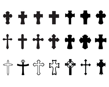 iron cross: Black silhouettes of different crosses 2,