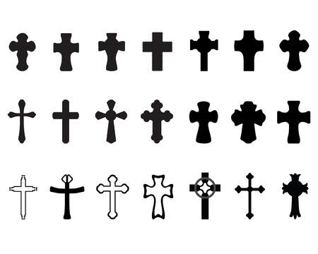 divine: Zwarte silhouetten van verschillende kruisingen 2,