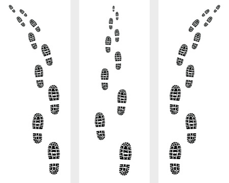 suspect: Trail of prints of shoes, illustration