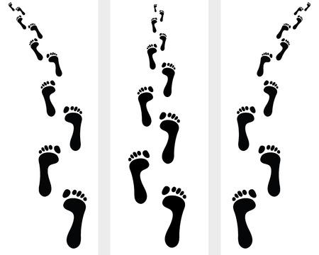 huella pie: Camino de las pisadas desnudas humanos, ilustración Vectores