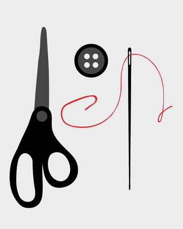 suture: Sewing buttons, scissors and needle, vector illustration