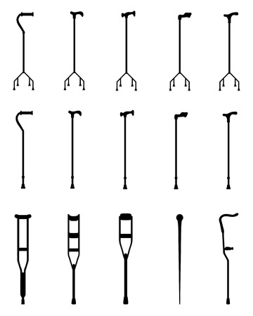 Black silhouettes of sticks and crutches 3, vector Vector