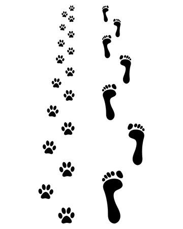 Footprints of man and dog, vector illustration Illustration