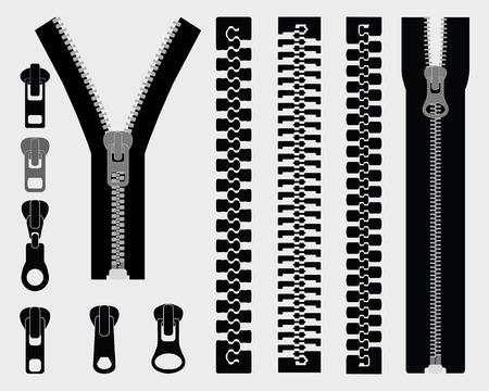 Set of different zipper black symbols, vector Vettoriali