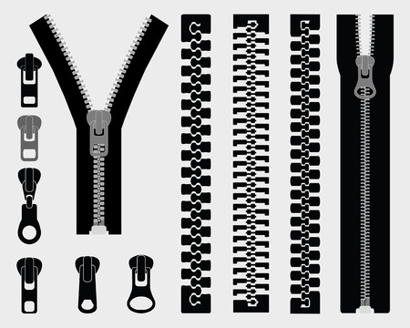 fastening objects: Set of different zipper black symbols, vector Illustration