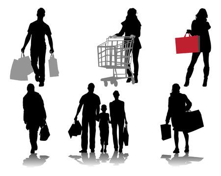 Black silhouettes of shopping, vector Vector