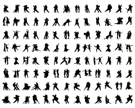 Black silhouettes of tango players, vector Vector