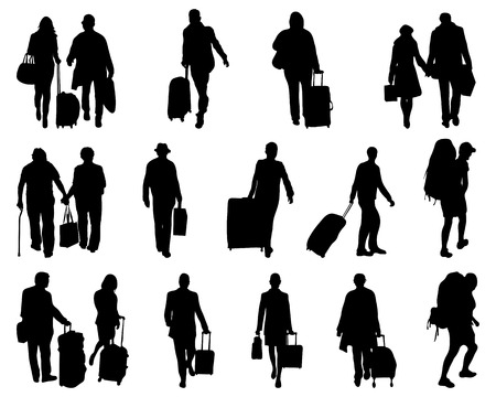 Black silhouettes of travelers, vector Vector