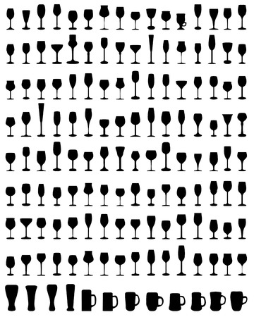 Black silhouettes of different glasses Illustration