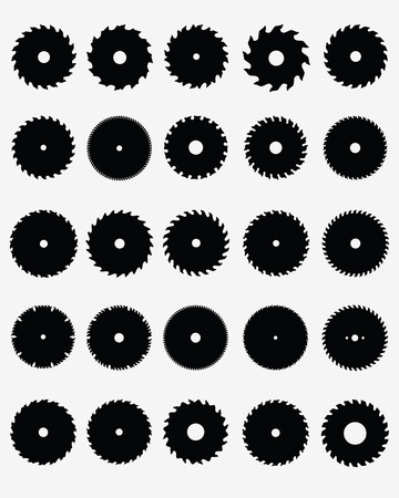Set of different circular saw blades Vector