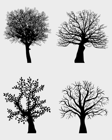 Four black silhouettes of tree Vector