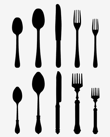 consume: Black silhouette of two cutlery Illustration