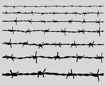 Black silhouettes barbed wire, vector