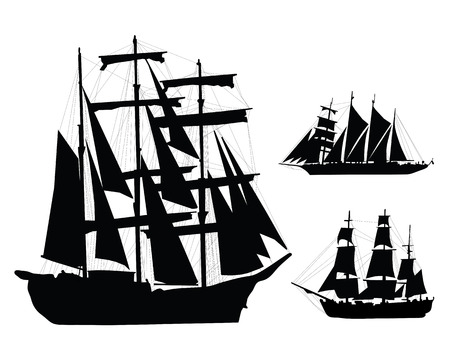 Black silhouettes of ships, vector illustration Vector