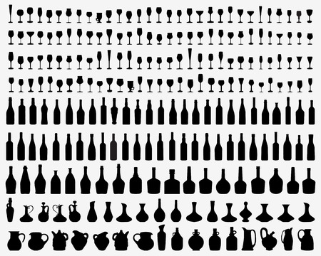 brandy glass: Black silhouettes of glasses and bottles of wine, vector