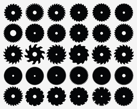 saws: Set of different circular saw blades, vector