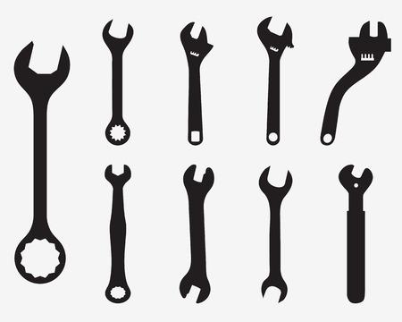 spanner: Black silhouettes of screw wrench, vector illustration Illustration
