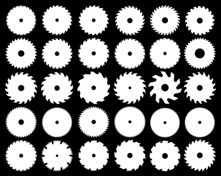 White silhouettes of different circular saw blades, vector