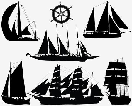 Black silhouettes of ships and rudder, vector illustration Illustration