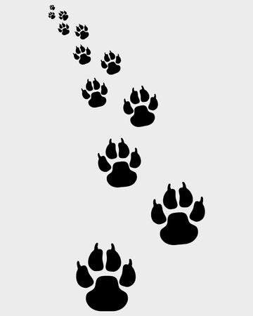 Schwarze Spuren von Hunden, links abbiegen 2-Vektor-Illustration