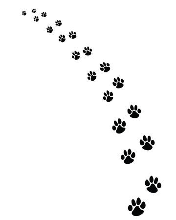 Black footprints of dogs, turn left-vector illustration Stock Illustratie
