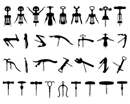 Black silhouette of corkscrew, vector illustration