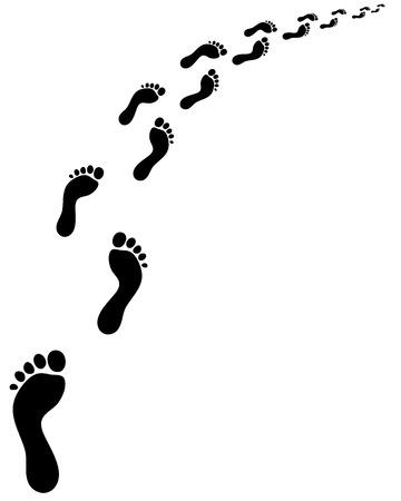 trail running: Trail of human bare footsteps, turn left Illustration