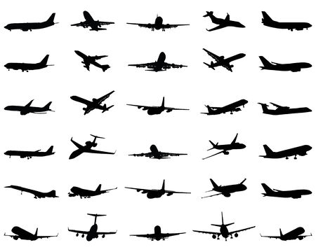 Different black silhouettes of airplane, vector Illustration