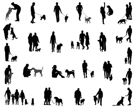 dane: Black silhouettes  of people with dog, vector