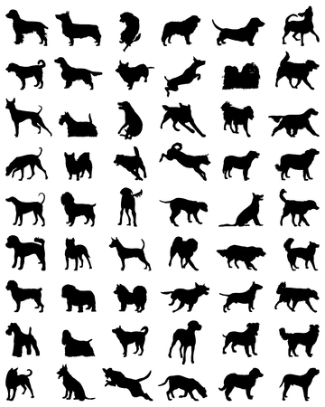 Different black silhouettes of dogs 2, vector Vettoriali