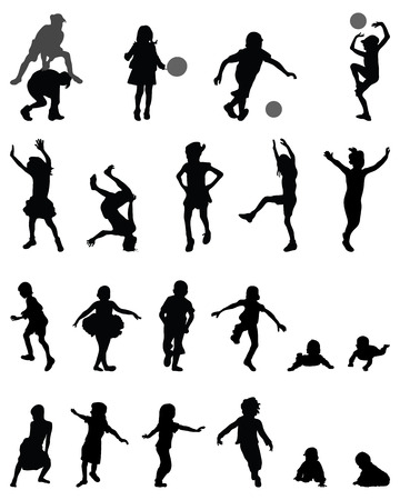 Black silhouettes of children playing, vector Vettoriali