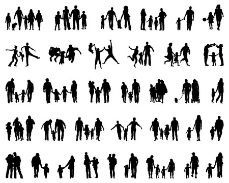 black baby boy: Big set of black silhouettes of families, vector