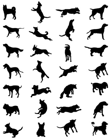 Different black silhouettes of dogs, vector Illustration