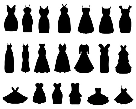 Black silhouettes of cocktail dresses, vector illustration Vettoriali