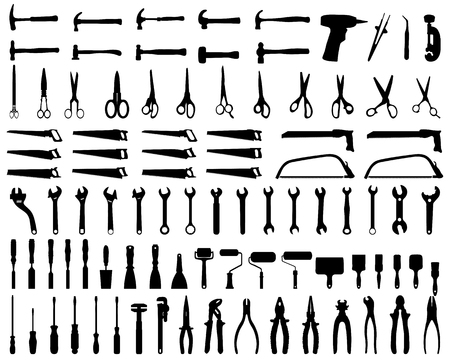 pincer: Set of black silhouettes of tools, vector