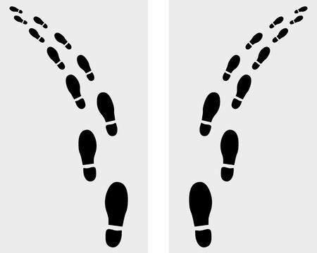 Trail of prints of shoes, vector illustration Illustration