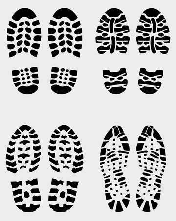 boot print: Various prints of shoes, vector Illustration
